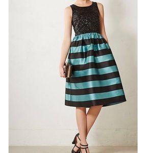 ANTHRO LEIFSDOTTIR Black/teal starlit stripe dress